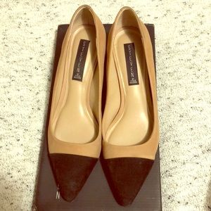 "Steven Steve Madden ""Joy"" pump, tan w/black toe"